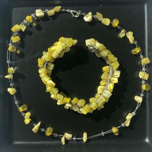 🛍Yellow Necklace + Cuff Bracelet